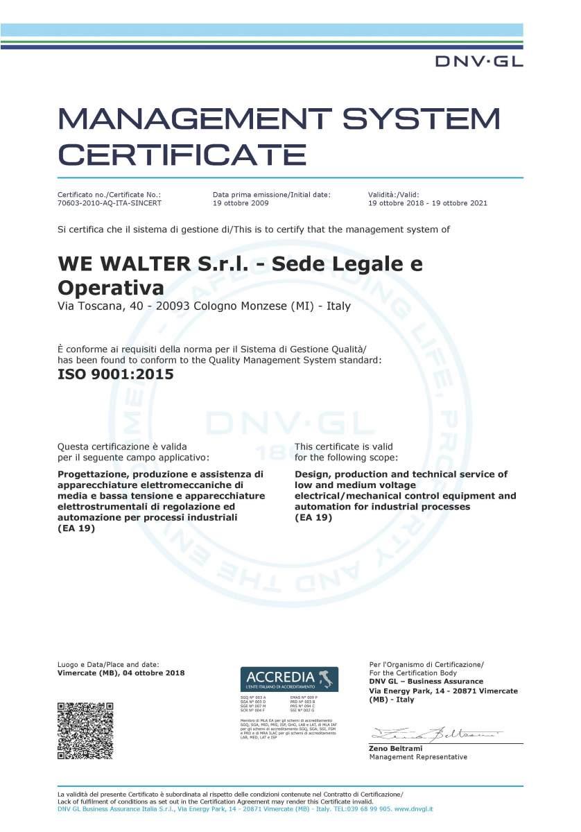 WE Walter Srl ISO 9001